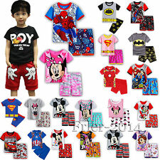 Baby Kids Boys Girls Superheros Mickey Outfits T-shirt Top Shorts Pants Set 2-8Y
