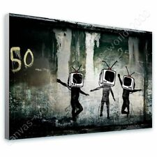 READY TO HANG CANVAS Tv Heads Banksy For Living Room Frame Oil Painting Print