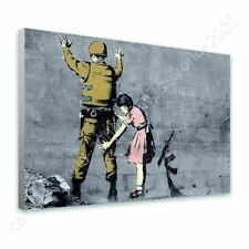 READY TO HANG CANVAS Girl Searching Soldier Banksy Framed Decor Giclee