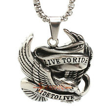 Live to Ride Eagle Hawk Motorcycle Biker Stainless Steel Chain Necklace Pendant