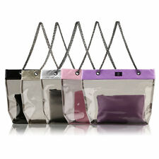 Womens Jelly Clear Transparent Tote PU Leather Chain Bag Shoulder Bag Handbag IB