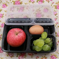 5/10 Pcs 3 Compartment Food Storage Containers With Lids Bento Lunch Box Z#