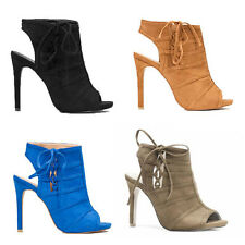 WOMENS LADIES HIGH HEEL PEEP TOE CUT OUT ANKLE BOOT SANALS SHOES SIZE 2-7