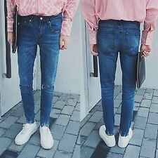 Men Slim Fit Distressed Frayed Ripped Jeggings Skinny Denim Pants Trousers Jeans