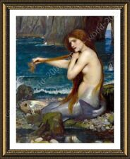 FRAMED Poster A Mermaid Waterhouse Oil Painting Print For Home Decor