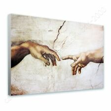 READY TO HANG CANVAS The Creation Of Man Michelangelo Framed Wall Art Giclee