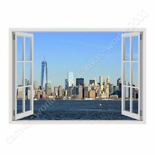READY TO HANG CANVAS Manhattan Skyline Fake 3D Window Oil Painting Print