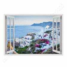 READY TO HANG CANVAS Santorini Greece Sunset Fake 3D Window Framed Paintings