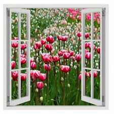 READY TO HANG CANVAS Tulips Fake 3D Window Framed Print Framed Wall Art Giclee