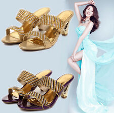 Womens Bling Rhinestone Party Sandals Personality Kitten Heels Mules Dress Shoes
