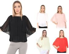 Ladies Womens Front Pleated Shirt Top Cape Grecian Sleeve Chiffon Blouse