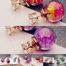Women's Rhinstone Ear Stud Glass Earring Piercing Jewelry Dried Flower