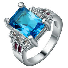 Fashion Jewelry Blue Sapphire 925 Silver Wedding Bridal Ring Size 7-9