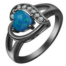 Black Opal & White Sapphire925 Silver Wedding Bridal Ring Size 7-9