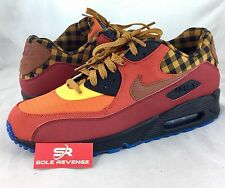 10 NEW Men's Nike Air Max 90 Premium Running Shoes Red/Brown/Red/Gold 700155-600