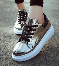 Womens Casual Sport Shoes Sneakers patent leather Running Athletic Shoes