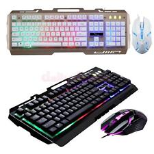 BackLit Backlight LED Illuminated USB Wired Multimedia Gaming Keyboard+Mouse