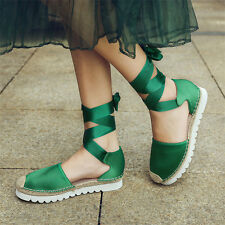 Womens Lace Up Strappy Satin Ballet Flats Round Toe Oxfords Sandals Casual Shoes