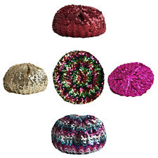 Women Girls French 70s Costume Party Dance Disco Sequins Beret Hat Beanie Cap