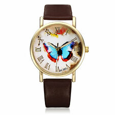 PU Leather Butterfly Gold Roman Round Women Quartz Wrist Watch For Gift