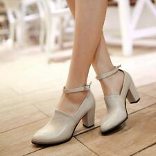 Classic Mary Janes Synthetic Leather Womens Block Heels Pumps Ankle Strap Shoes
