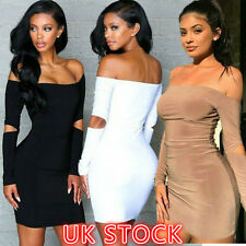 UK Womens Ladies Bandage Bodycon Dress Cocktail Evening Party Pencil Midi Dress