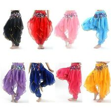 Belly Dance Costume Tribal Gold Coins Trouser Dancer Wavy Harem Pants 8 Colors