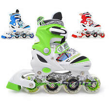 Light Up Kids Adjustable Roller Blades Inline Skates Size 12J-3 4-6 7-9