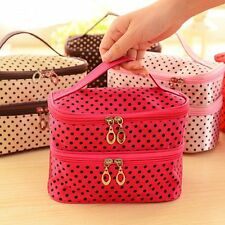 Storage Handbag Makeup Tool Double Layer Cosmetic Bag Toiletry Case Small Dots