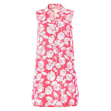 Ex White Stuff Pink Summer Blooms Floral Print Sleeveless Shirt Tunic Top Dress