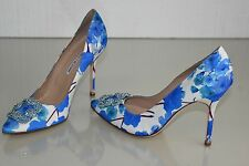$965 NEW MANOLO BLAHNIK HANGISI 105 BLUE FLORAL SHOES JEWELED 41 42 Wedding