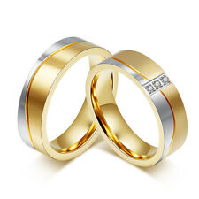 Titanium Steel Gold Plated Couple Ring Men/Women's Wedding Promise Band Size5-12