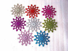 Glitter Snowflake Christmas Tree Room Decoration Silver Dusky Hot Pink Gold Red