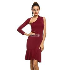 Women Sexy One Shoulder Long Sleeve Bodycon Backless Party Dress B5UT