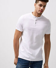 Selected Homme Mens Polo Shirt - Slim Fit Collarless Polo Shirt - White - Siz...