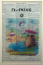 """Vintage Dictionary Page Art Print Pink Flamingo French Scene """"Le Flammant"""""""