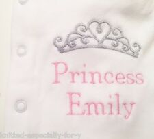 Personalised Baby Grow Embroidered Sleepsuit Newborn Gift Princess/Prince