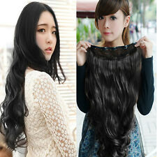 Womens Girls Wavy Curly Long Hair 5 Clip Extension Piece Fashion