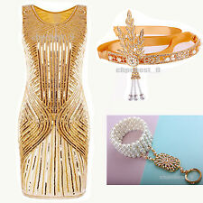 Gatsby 1920s Flapper Dress Charleston Sequins Beads Party Cocktail Womens Dress