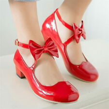 Womens Patent Leather Oxfords Shoes Mary Janes Mid Cuban Heel Round Toe Pumps