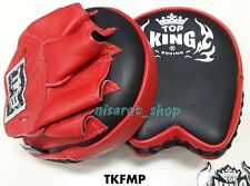 TOP KING FOCUS MITTS TKFMP BLACK RED  GENUINE LEATHER MUAY THAI MMA FOR TRAINING