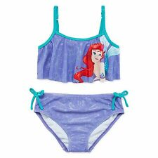 Disney Collection Girls Swimsuit Ariel 2 piece Purple UPF 50+ size 9-10 NEW