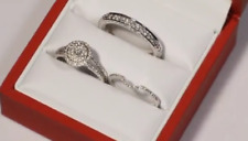 3.0 Ct Round Trio D/VVS1 Diamond Engagement and Wedding Ring 14K White Gold Over