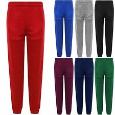 KIDS BOYS GIRLS SCHOOL JOGGING BOTTOMS FLEECE PE SPORTS TROUSERS JOGGERS NEW