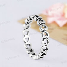 925 Fashion Sterling Heart Filigree Silver Engagement Wedding Promise Gift Ring