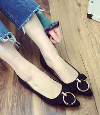 Women Fashion Pointy Toe Circle Metal Buckles Bowknot Ballet Flat Work Shoes 4-9