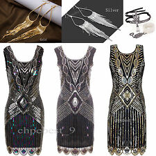 1920s Flapper Dress Sequins Beads Party Cocktail Womens Costume Size 4 10 12 18