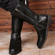 Mens Punk Rock Goth Band Zipper Guard Boots Motorcycle Riding Cosplay Show Shoes