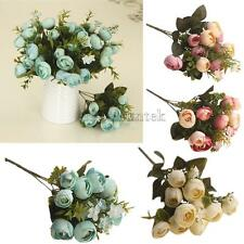 Artificial Fake 5-Fork Tea Rose Buds Silk Flowers Plant Wedding Home Party Decor