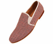Amali Mens Red & White Houndstooth Knit Dress Casual Slip On Loafer : Trap-005